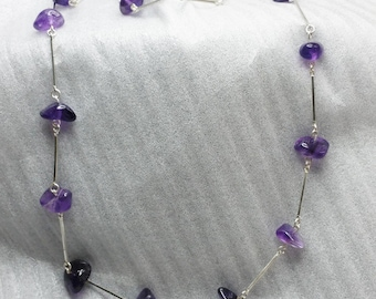835 silver necklace with Amethyst 65 cm vintage old silver necklace SK532