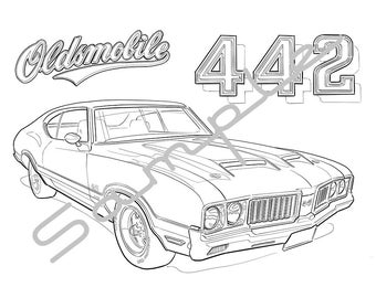1970 OLDS 442, Adult Coloring Page, Printable Coloring Page, Coloring Page for Adults, Digital Instant Download 1 page