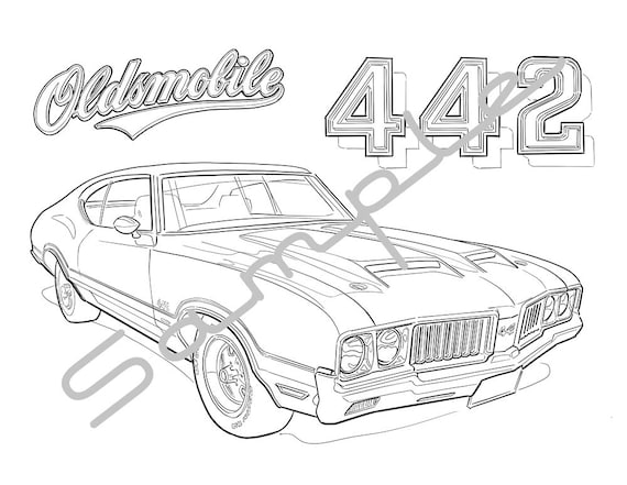 1970 OLDS 442 Adult Coloring Page