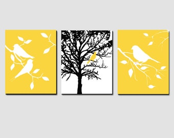 Nature Trio - Set of Three 8x10 Prints - Bird in a Tree, Birds on a Branch - CHOOSE YOUR COLORS - Shown in Yellow, Black, Pink and More