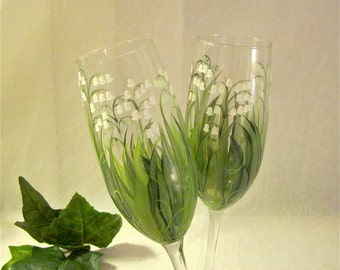 Free shipping Lily of the Valley hand painted champagne flutes