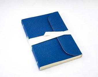 Canvas Journal - Blue - White Tape Wrap - Handbound Blank Book - A6 - 6 x 4 - Italian Ivory Paper