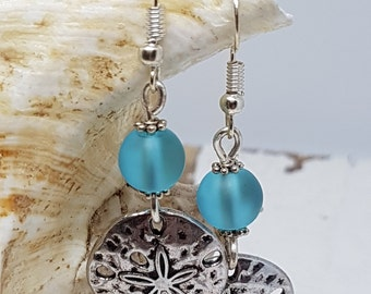 Blue Sea Glass and Silver Plated Sand Dollar Earrings