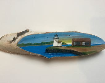 Mystic River Lighthouse Painting on Birch