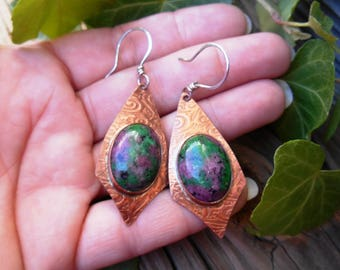 Ruby Zoisite Earrings, Dangle Earrings, Drop Earrings, Copper Earrings, Stone Earrings, Ruby Earrings, Ready to Ship Gifts, One of a Kind