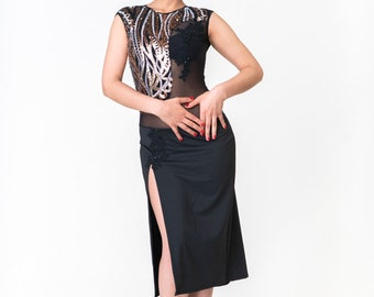 Sequin Tango Performance Dress  Side Slit with Back Train Tango With Love