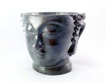 Concrete Buddha Head Planter Black