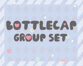 Set of bottlecap charms group (Complete group set MINUS logo)