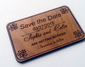Save-the-date magnet card (40)/ Engraved  Personalized  Save the Date magnets/ wooden Rustic Handmade Save the Date/ custom save the date