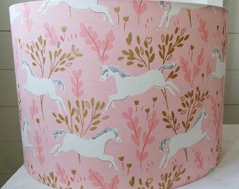 NEW Handmade Unicorn Design Drum Lampshade