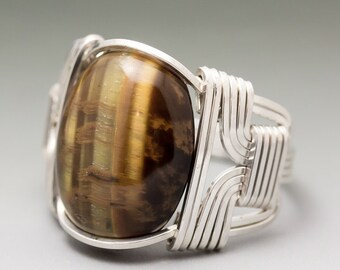 Golden Tigers Eye Gemstone Cabochon Sterling Silver Wire Wrapped Ring - Made to Order and Ships Fast!
