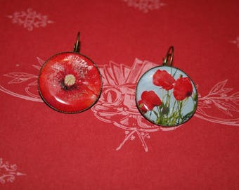 vintage earrings - red poppies - cabochon