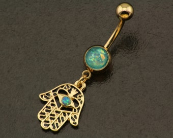 Real Opal Belly Button Ring Jewelry. Gold Hamsa Bohemian Belly Ring. Golden Dangle Piercing. Genuine Boho Navel Ring. Hippie Body Jewellery.