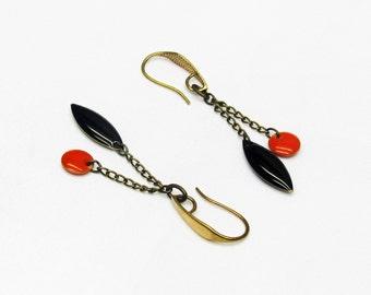 Brass drops earrings, orange and black sequins on hook earrings