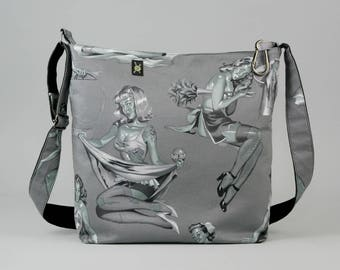 Zombie Pin Up Girls Large Crossbody Bag, Work School Book Bag, Gray and White, Fabric Shoulder Bag, Canvas Liner, Horror Fan
