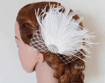 LISALI White Black Fascinator Wedding Feather Fascinator, Bridal Feather Headpiece, Wedding Feather Hairpiece ,French Barrette