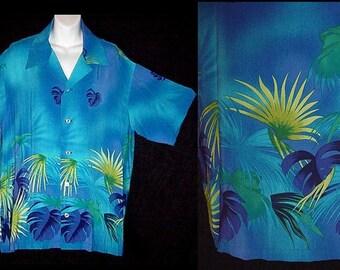 Men's Vintage Hawaiian Shirt Aloha Electric Atomic Blue Tropical Paradise Authentic 40s VLV Silky Rayon Viva Las Vegas M/Medium-L/Large