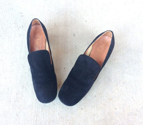 twiggy MOD space dolly SUEDE shoes retro simple HEELS 60s pumps 5 age vtg Black 7 stewardess wfPqpxS