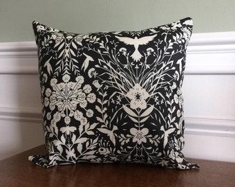 "Modern Throw Pillow Cover, Pillow Sham, Decorative Pillow, Euro Sham, Black and White Nature Print, 14 inch, 14"", Sofa Pillow, Neutral Decor"