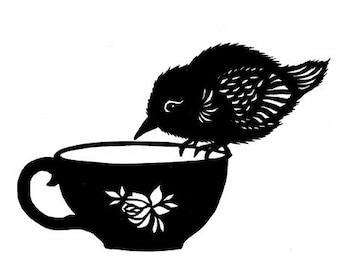 Tea Bird - 5 X 7 inch Cut Paper Art Print