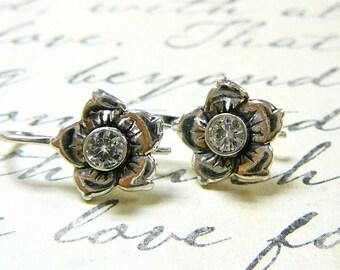 Clara Earrings - Sterling Silver Vintage Delicate Flower CZ Earrings
