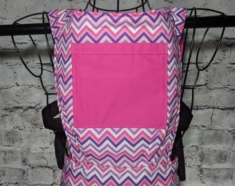 Purple/pink Chevron baby doll/stuffed animal carrier