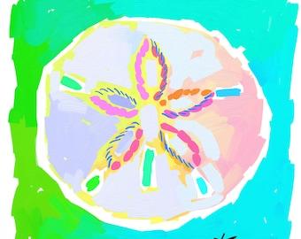 Sand Dollar Print 11x14 Sand Dollar Painting Shell Aqua Lime by artist Kelly Tracht, Art Poster Palm Beach Regency, Item #1P