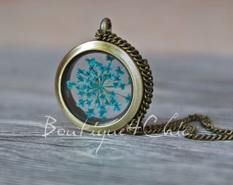 Queen Anne's lace in blue, necklace, locket necklace