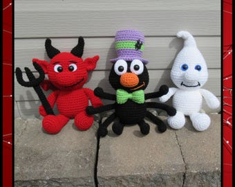 Halloween Chubbies 2 Amigurumi (PDF file only, this is not the finished doll) Devil, Ghost, Spider