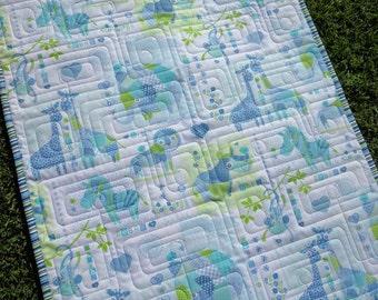 Baby Quilt, Crib Bedding, Jungle Blanket, Aqua Lime Green Blue, Nursery Decor, Jungle animals, play mat, stroller quilt