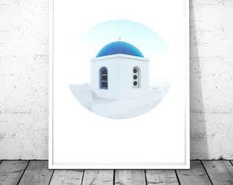 Oia Santorini Greece print scandinavian decor mediterranean church poster greek islands wall art blue&white wall decor minimal print