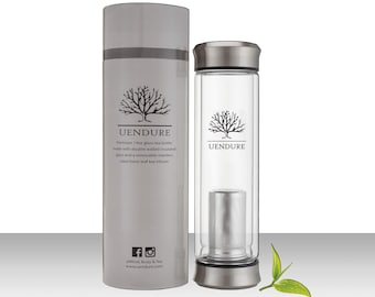 UEndure Tea Strainer - 14oz Glass Tea Infuser Bottle, Travel Teapot and Tea Cup with Removable Tea Diffuser