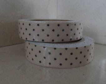 1 roll of adhesive fabric beige with black dots 5 meters