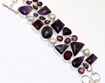Amethyst Lace , Pearl , Amethyst Quartz HANDMADE 925 Silver Plated Cluster Bracelet B618