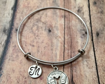 Subway token initial bangle - subway jewelry, NYC charm bracelet, gift for New Yorker, transportation jewelry, silver subway bangle
