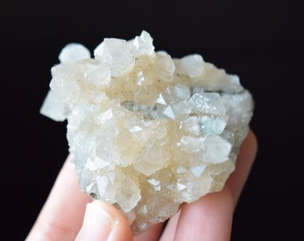 Elestial Quartz Cluster from Inner Mongolia, White Calcite and Green Minerals in Matrix, 82g