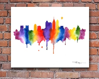 Philadelphia Skyline Art Print - Abstract Watercolor Art Print - Wall Decor