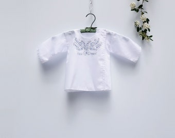 Vintage Baby Girl Clothes White Blouse Embroidered Blouse 1960s Baby Clothes Summer Blouse 12m - 18m