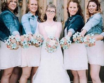 Rustic Wedding Package, Burlap Bouquet Package, Country Wedding Flowers, Burlap Roses, Burlap and Lace, Burlap Flowers, Rustic Flowers