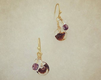 hand made earrings-Dew on lover's hair -purple-violet