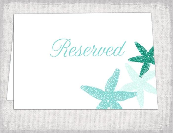 Beach Reserved Card Template Starfish Printable - Reserved place card template