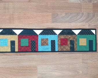 Row of Houses Mini Quilt Table Runner Wall Hanging Traditional