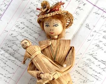 Cornhusk Doll Vintage Appalachian Mt 1950 Handmade Mother with Baby