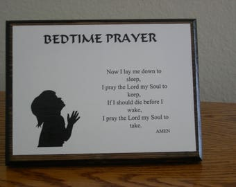 Bedtime Prayer Plaque for Many Generations and Ages
