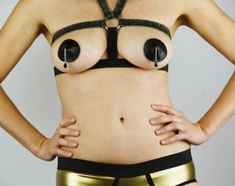 Breast Harness ''Night Queen'' · BDSM Apparel · Elastic Adjustable Harness · Vegan · Many Colours · Hand-made · High Quality · S-XXL