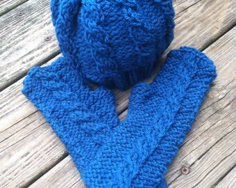 Cobalt blue cables hat and fingerless gloves