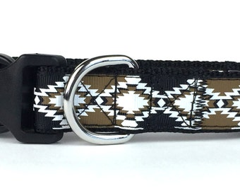 Black & Brown Aztec Nylon Dog Collar