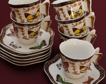 CC&T butterfly espresso set for 6
