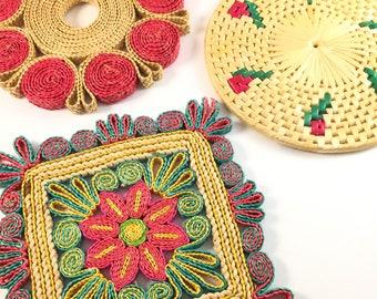 Boho wall art, set of four raffia trivets, colorful trivets, woven wall art, eclectic home decor, bright wall art, vintage