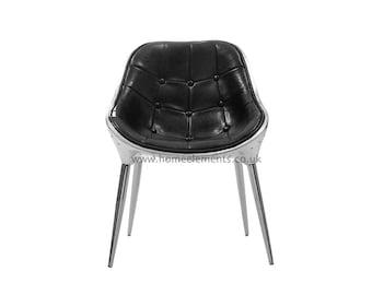 Retro Vintage Black Bicast Leather Aviation Kitchen Dinning Office Chair